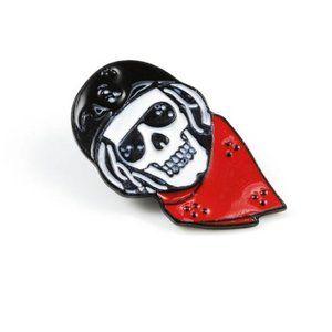 Biker Skeleton with Red Bandanna Pin Brooch